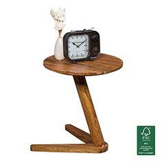 WOHNLING Beistelltisch Massiv Holz Sheesham Design Wohnzimmer Tisch 45 X Cm Rund Couchtisch