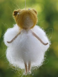 Little snow white needle felted fairy ornament will bring more magic to your…