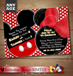 Mickey and Minnie Mouse Twin Birthday Party Invitation BD Mickey