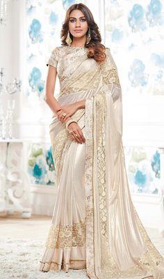 Buy Beige Colored Designer Partywear Lycra Saree at Rs. Get latest Printed saree at Peachmode. Designer Sarees Wedding, Indian Designer Sarees, Wedding Sari, Indian Sarees, Wedding Bride, Wedding Gowns, Chiffon Saree, Saree Dress, Saree Blouse