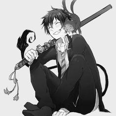 ao no exorcist | blue exorcist | okumura rin | kuro