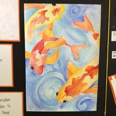Koi fish watercolor resist