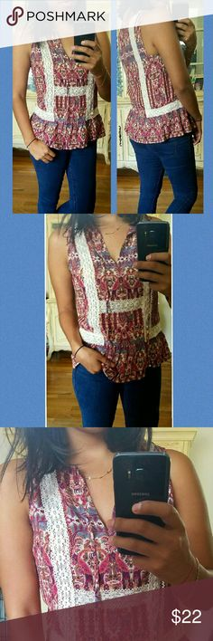 ▪BOHO CHIC▪ORNATE LACE TANK SMALL Brand new Contemporary Ornate tank size Small. Beautiful design with lace detail.  Tie string in front. Peplum style hem. Very cute. From F21 Contemporary line. Olive, Pink, Cream lace. Forever 21 Tops Tank Tops