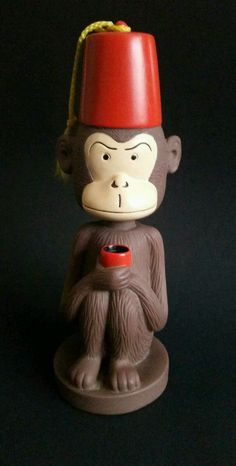Monkey Bobble Head Nodder Figure With Red Shriner Fez Hat Accoutrements 2000 #Accoutrements