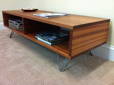 fat boy mid century modern coffee table with storage, featuring