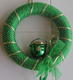 St. Patrick's Day Wreath - Tools, styrofoam form, green and gold ribbons, glue and charm... easy!