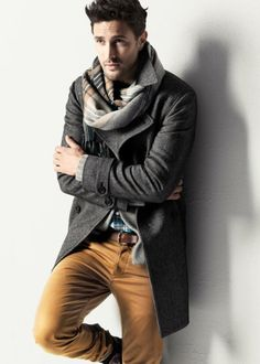 Winter Style | Guys Fashion. Mustard pants and plaid scarf