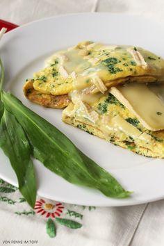 Bärlauch-Omelett mit Brie überbacken
