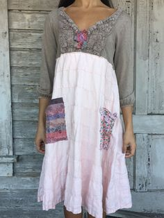 Angelica dress-small medium-artsy-Eco clothing-upcycled