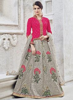 Buy Enchanting Pink and Grey Party Wear Anarkali Lehenga Style Suit Online Long Choli Lehenga, Lehenga Choli Online, Silk Lehenga, Lehenga Blouse, Pakistani Dresses, Indian Dresses, Pakistani Bridal, Indian Outfits, Lehenga Online Shopping
