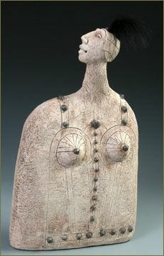 'Kabarettist' by South African-born, American ceramic sculptor Roelna Louw. 13 x 7 x 3 in. via the artist's site