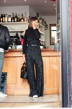how i'd wear a sparkly jumpsuit - with a cut out turtleneck under! // Julie Pelipas