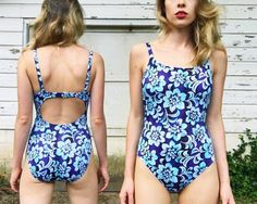 Vintage Indigo + Light Blue Tropical Tie Dye Floral Open Back Cut Out High Rise One Piece Summer Swimsuit S/M Vintage One Piece Swimsuits, Indigo, Light Blue, Tie Dye, Tropical, Trending Outfits, Swimwear, Etsy, Fashion