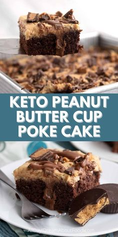 This keto peanut butter cup cake is over-the-top delicious. Tender chocolate cake with a chocolate peanut butter filling and sugar free peanut butter frosting. Topped with a few keto peanut butter cups, it's a sure-fire hit. Low Carb Sweets, Low Carb Desserts, Healthy Dessert Recipes, Low Carb Recipes, Sugar Free Desserts, Sugar Free Recipes, Sugar Free Peanut Butter, Ketogenic Desserts, Keto Cake
