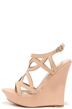 Nude Caged Wedges