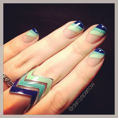diagonal tips in mint, teal and dark blue nail  art design