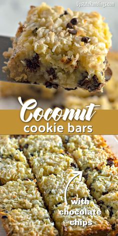 These buttery and chewy coconut bars with chocolate chips are an easy dessert filled with lots of coconut and a little bit of chocolate. Coconut Desserts, Coconut Recipes, Easy Desserts, Delicious Desserts, Yummy Food, Unique Desserts, Coconut Cookies, Cookie Recipes, Baking Recipes