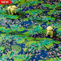 Japanese - blue & gold plum blossom metallic cotton fabric