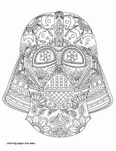 Adult Star Wars Coloring Pages Lovely Day Of the Dead Darth Vader Mask Adult Coloring Page T Wall Star Wars Coloring Book, Skull Coloring Pages, Adult Coloring Book Pages, Mandala Coloring Pages, Printable Coloring Pages, Colouring Pages, Free Coloring, Coloring Books, Coloring Sheets