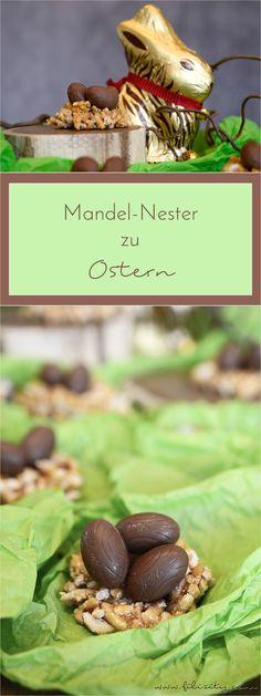 Oster-Knabberei: Mandel-Knusper-Nester mit Schokoladen-Eiern #ostern