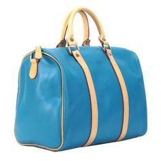 ae0100388ea Alex.Max BV2700 030 Genuine Leather Portofino Turquoise and Tan Satchel  Handbag Candy Bags