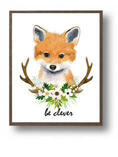 Watercolor fox cub, baby fox , animal paintings, fox, woodland nursery, floral nursery, nursery room decor, woodland animals