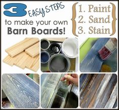 Love this tutorial. DIY Distressed 'Barn Board' Tutorial {by Sawdust and Embryos} Diy Wood Projects, Diy Projects To Try, Wood Crafts, Fun Crafts, Woodworking Projects, Primitive Crafts, Primitive Christmas, House Projects, Painted Furniture