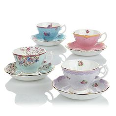 Royal Albert Candy Collection Cup and Saucer 8-piece Set - Candy Mix - 8045422 | HSN