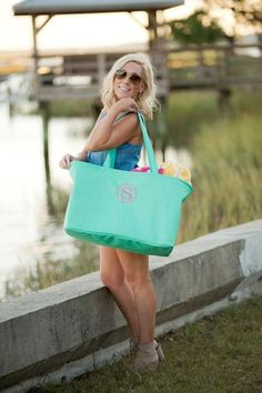 Personalized Large Utility Tote Beach Bag Picnic Basket Mint Green available at giftshappenhere.com embroidered tote bag // personalized beach bag // large beach bag // mint bag // large utility tote