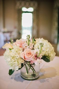 Spring South Carolina Lake Wedding Simple Wedding Centerpiece Idea - White Hydrangea and Pink Rose C Pink Centerpieces, Simple Wedding Centerpieces, Wedding Flower Arrangements, Wedding Bouquets, Wedding Decorations, Centerpiece Ideas, Pink Flower Centerpieces, Centrepieces, Table Decorations