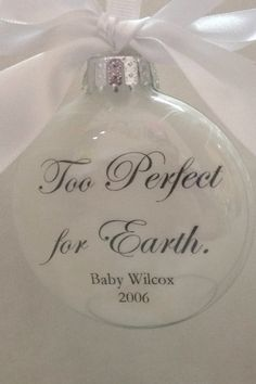 Pregnancy Loss Memorial Ornament Too Perfect for Earth Child in Heaven Glass… Baby Angel Tattoo, Baby Tattoos, Skull Tattoos, Foot Tattoos, Sleeve Tattoos, Miscarriage Remembrance, Remembrance Gifts, Loss Tattoo, Tatoo