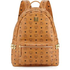 MCM Stark Side Stud Large Backpack ($725) ❤ liked on Polyvore featuring bags, backpacks, red, mcm backpack, red backpack, mcm, studded backpack and leather knapsack