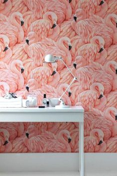 This wallpaper tho! Would look cute in a bathroom This flamingo wallpaper feels both retro and fresh at the same time. The texture of the feathers adds an unexpected depth to this wallpaper look. Estilo Tropical, Wall Decor, Room Decor, Inspirational Wallpapers, Deco Design, Wall Design, Pink Flamingos, Flamingo Decor, Flamingo Bird