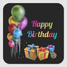 Happy Birthday Music, Happy Birthday Black, Happy Birthday Greetings, Cool Stickers, Round Stickers, Bumper Stickers, Custom Stickers, Happy Stickers, Label Stickers