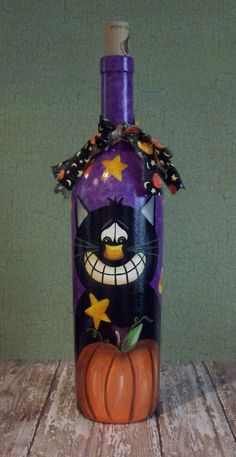 Hand Painted Halloween Cat Wine Bottle..