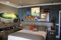 Eclectic Mens Bedroom Ideas with Artful Wall Murals Elegant Wood Bedside Tables Low Profile Bed Shiny Pendant Lights