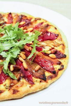 Tarte fine aux poivrons grillés, ricotta cébettes et basilic {variations autour du poivron grillé}