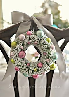 Pastel Ornament Wreath Hanging Decoration.  These would be pretty on the dining room chairs.