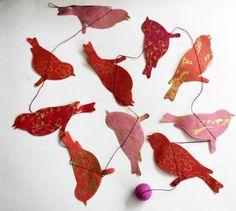 Handmade Paper Bird Garland. $6.00, via Etsy.