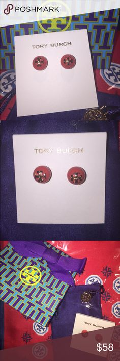 Tory Burch Coral Pearl Stud Logo Earrings NWT New w/ tags, gift bag, & Tory Burch logo jewelry sack. Beautiful coraly red color. Bought for my niece but forgot I had given her a similar pair last year. Have kept too long to return. A great treat for yourself or a loved one. It's never too early to stash away bargain goodies for Christmas!  Price is firm, bcse I'm already loosing $, and then PM will get their 20% on top of that. Will keep and give to someone else, rather than loosing too much…