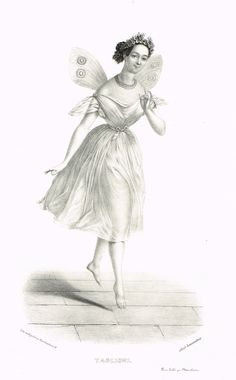 TAGLIONI (dans la Sylphide) - Marie Taglioni (23/04/1804 - 22/04/1884) - ballerine romantique - d'après Alexandre Lacauchie - 1841 - MAS Estampes Anciennes - Antique Prints