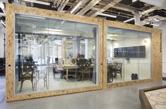 Airbnb office in Dublin resembles an Irish pub Other larger pods are hinged at the centre so they can be rolled apart to split them into two meeting rooms.