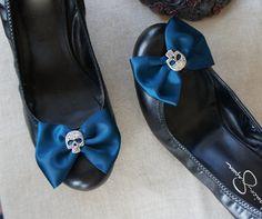 Olivia Paige  Blue satin Bows Sugar skull by OliviaPaigeClothing