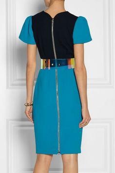 Roksanda Ilincic Oriel Colorblock Woolcrepe Dress in Blue - Lyst