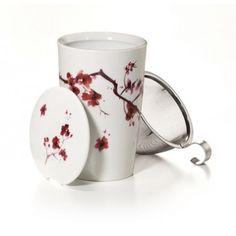 Tea Eve, Kirschblüte - Teetasse mit integriertem Teesieb und Deckel. Perfekt für die rasche Zubereitung einer Tasse Tee!