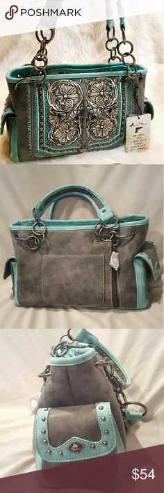 Conceal Carry Handbag Teal Teal and grey conceal carry hangbag by Montana West. Made in the great state of Texas! Why dig in your handbag when you can have your handgun in its seperate compartment? Handbag has several pockets and 2 zipper compartments on the inside. Each side of the handbag has magnetic flap pockets. Sturdy strap made of metal and high quality materials. The back side of the handbag is  the conseal zipper area for a quick and discrete quick draw. Floral design with brushed…
