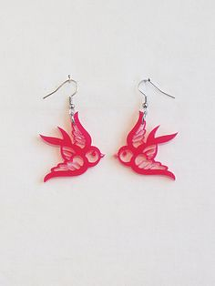 Swallow rockabilly earrings in various colors by muchoshop on Etsy, $12.00