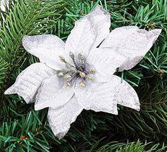 6Pcs 5 Inch Glitter Artificial Christmas Flowers XMAS Tree Wreaths Decor Ornament Silver Gardeningwill http://www.amazon.com/dp/B00Q9PK3TS/ref=cm_sw_r_pi_dp_TQXIub140XGYY