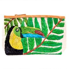 Summer embroidered straw tropical clutch