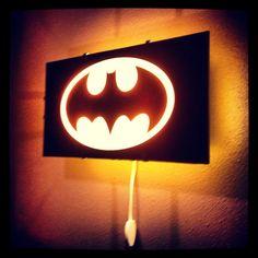 Batman, Bat Signal light, Gotham City, wall decal, boys room decor, superhero decal, wall art, wall sticker, by Otrengraving on Etsy. $80.00, via Etsy.
